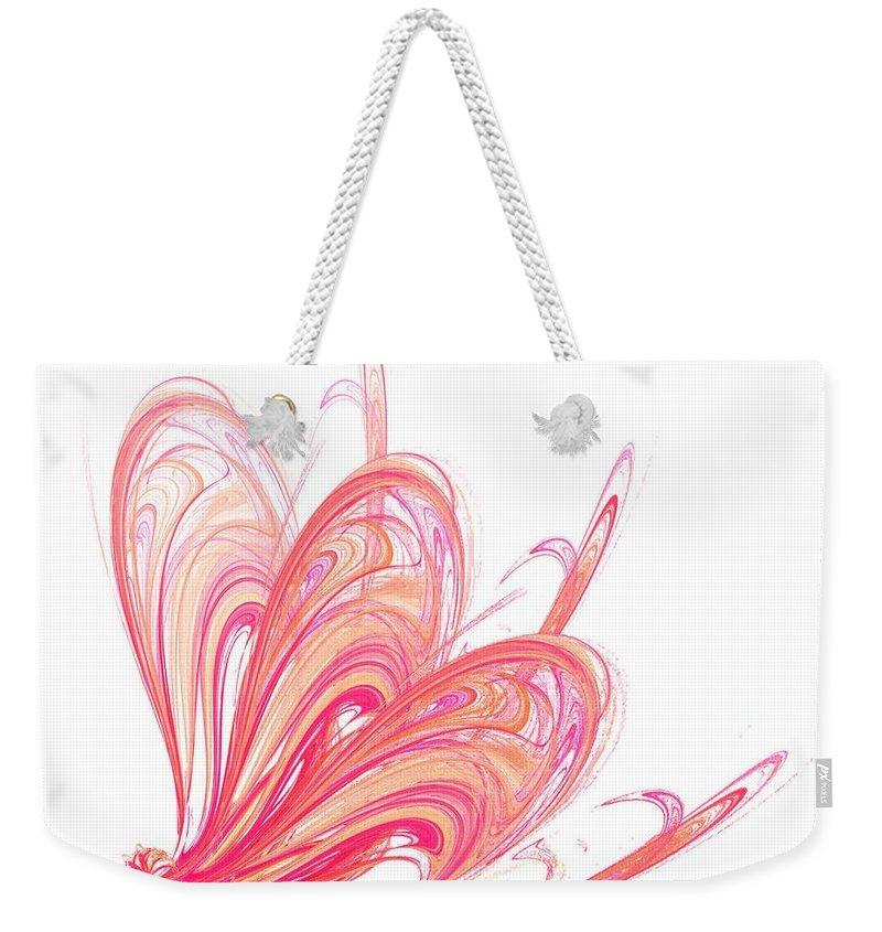 Effect Weekender Tote Bag featuring the digital art Fractal - Red Flow by Henrik Lehnerer