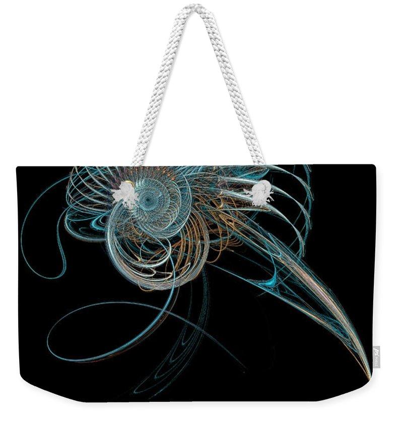 Fractal Weekender Tote Bag featuring the digital art Fractal Shell by Ann Garrett