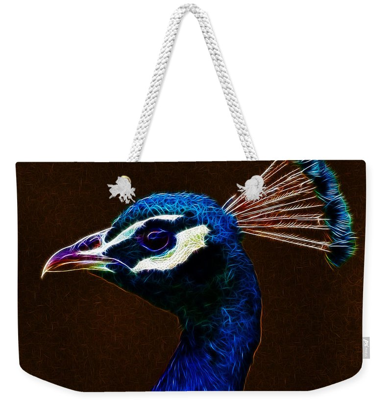 Peacock Weekender Tote Bag featuring the photograph Fractalius Peacock by Chris Thaxter