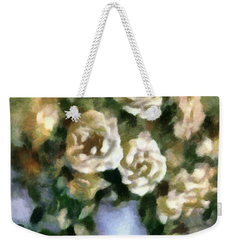 Roses Weekender Tote Bag featuring the mixed media Fragrant Roses by Georgiana Romanovna