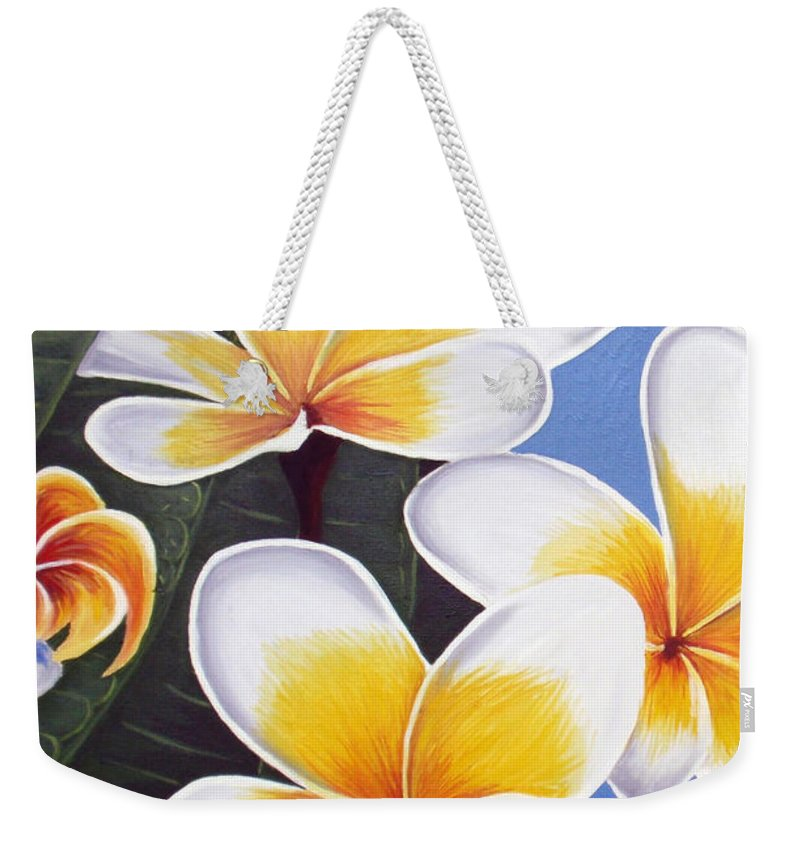 Oil Painting Weekender Tote Bag featuring the painting Frangipani I by Tatjana Popovska