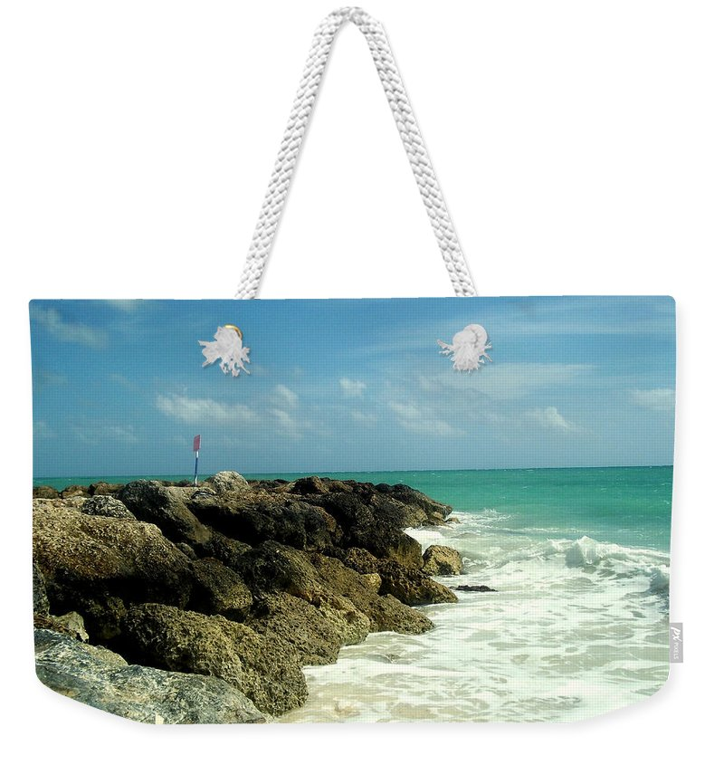 Caribbean Weekender Tote Bag featuring the photograph Freeport Coast by Cynthia Amaral