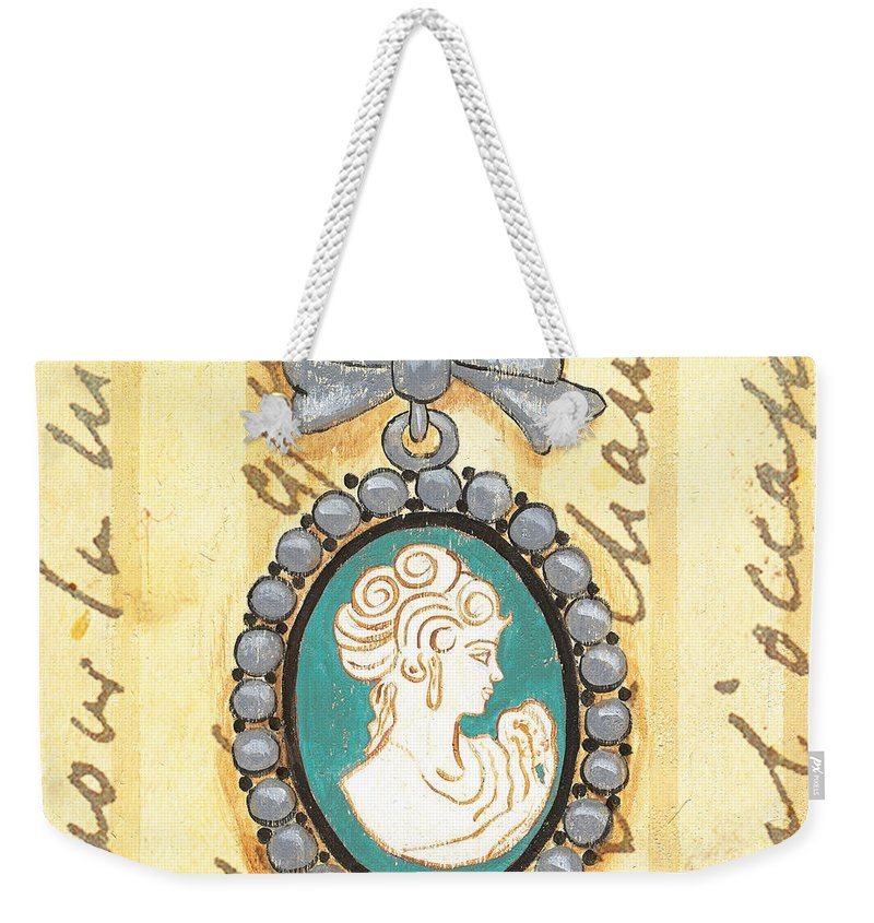 Cameo Weekender Tote Bag featuring the painting French Cameo 1 by Debbie DeWitt