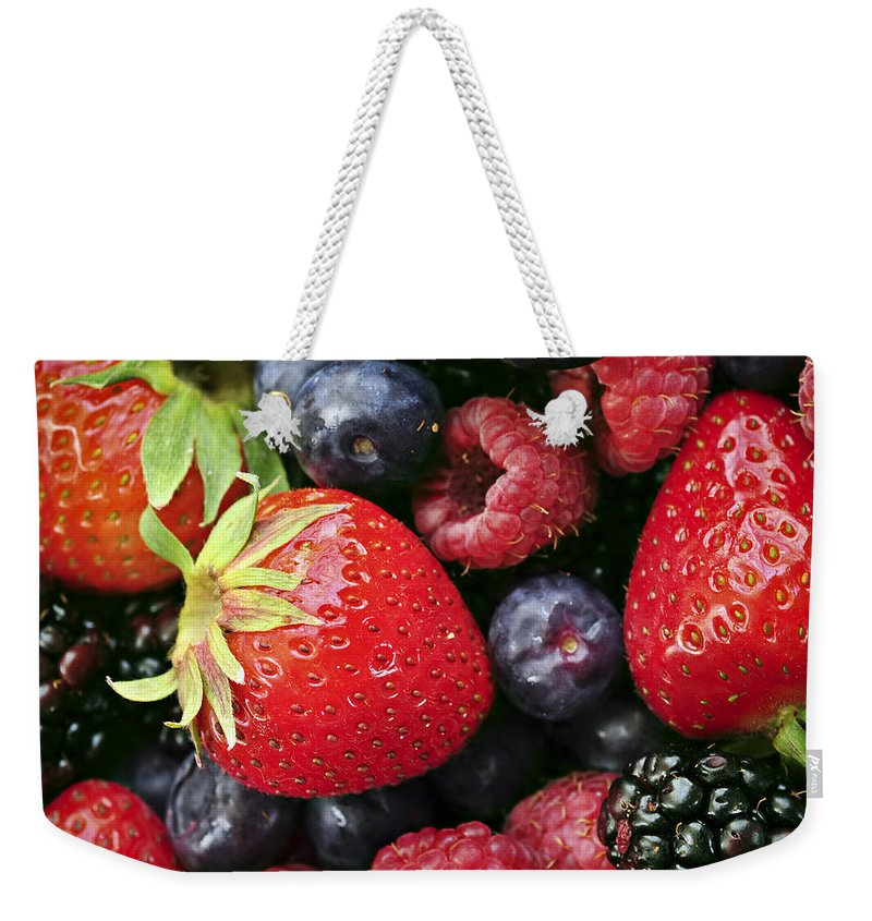 Berry Weekender Tote Bag featuring the photograph Fresh Berries by Elena Elisseeva