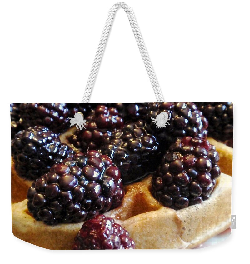 Blackberries Weekender Tote Bag featuring the photograph Fresh Blackberry Waffles by Kathy Clark