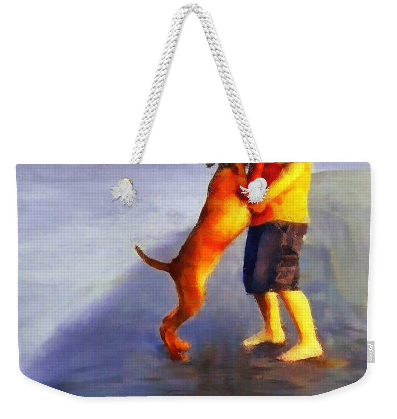 Dog Weekender Tote Bag featuring the painting Friendship by Dragica Micki Fortuna