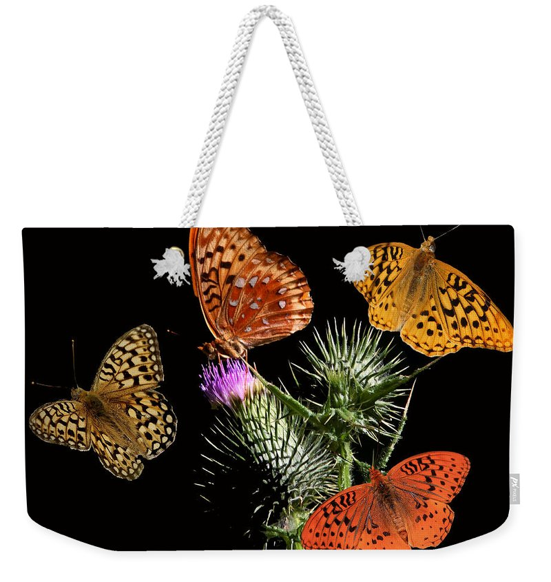 Nature Weekender Tote Bag featuring the digital art Four Fritillaries by David Salter