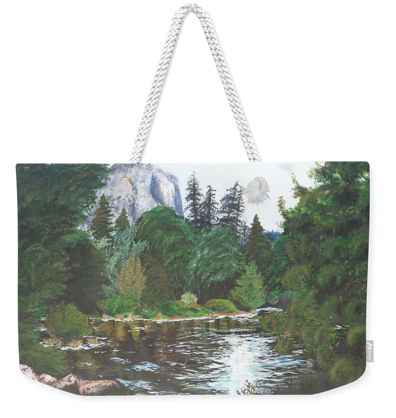 Yosemite Weekender Tote Bag featuring the painting Frog's Eye View by Travis Day