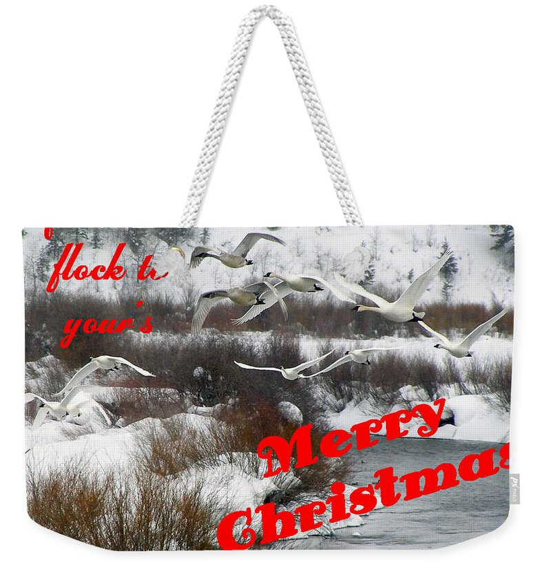 Christmas Cards Weekender Tote Bag featuring the photograph From Our Flock To Yours by DeeLon Merritt