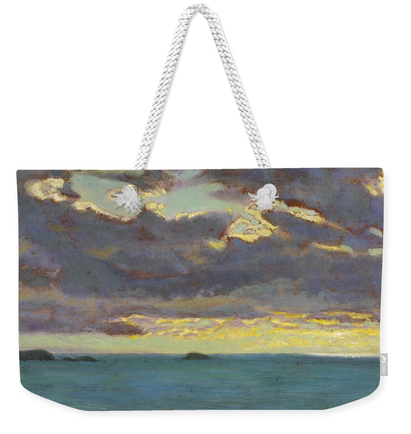 Seascape Weekender Tote Bag featuring the painting From Pentire Point by Arthur Hughes