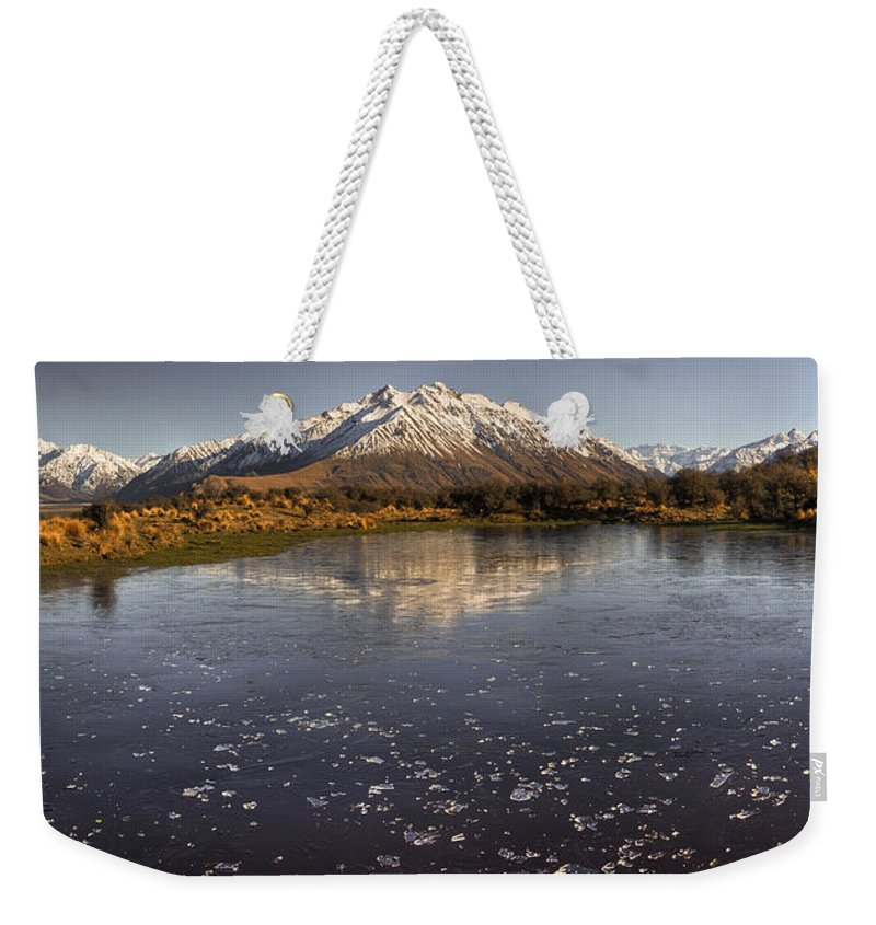 Hhh Weekender Tote Bag featuring the photograph Frozen Tarn Near Mt Potts Station by Colin Monteath