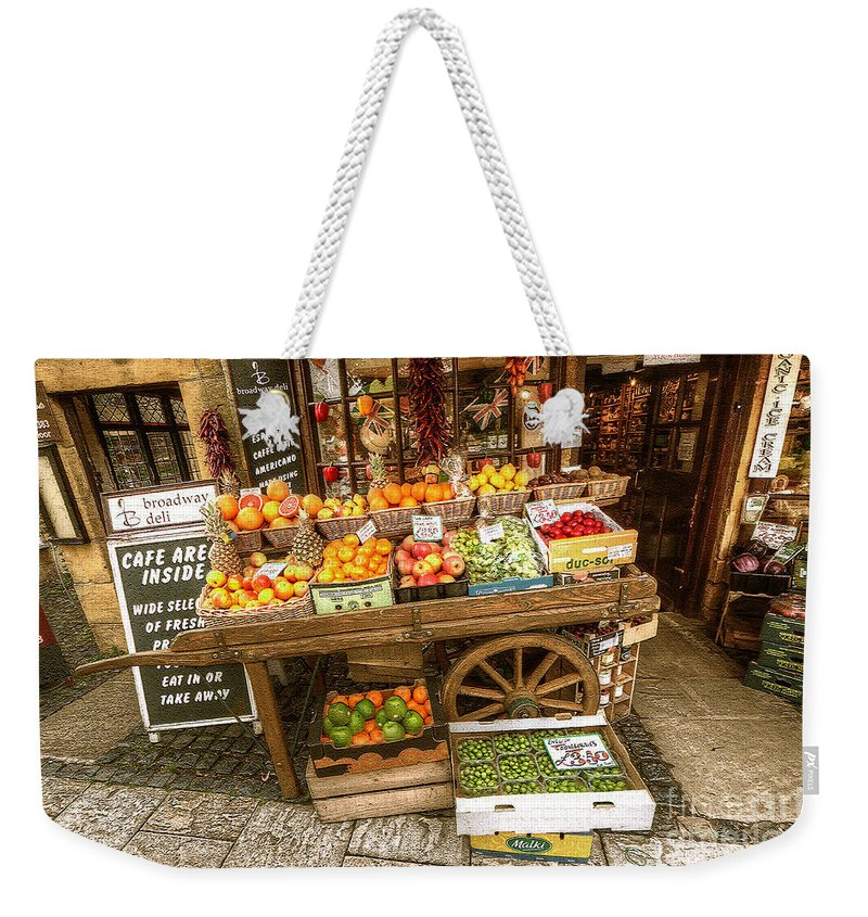 A Fruit & Veg Cart Outside A Grocers In Broadway Weekender Tote Bag featuring the photograph Fruit N Veg by Rob Hawkins
