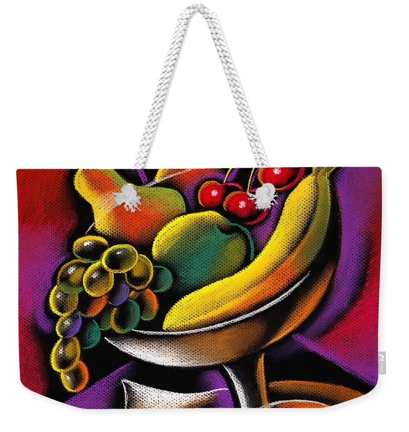Abundance Apple Assortment Banana Cherry Color Color Image Colorful Colour Drawing Food Food And Drink Fresh Fruit Group Health Healthy Eating Horizontal Illustration Illustration And Painting Large Group Of Objects Lime New Nobody Nutrition Oranges Pear Pineapple Plum Strawberry Variety Vibrant Decorative Painting Abstract Art Weekender Tote Bag featuring the painting Fruits by Leon Zernitsky