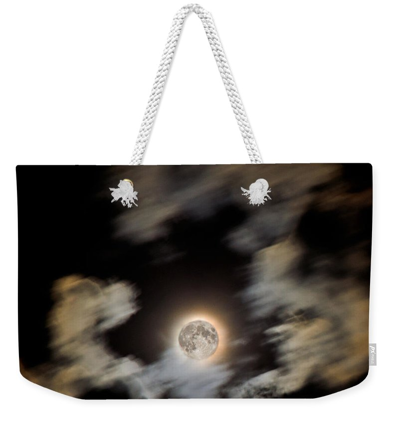 Moon Weekender Tote Bag featuring the photograph Full Moon by Jeff Galbraith