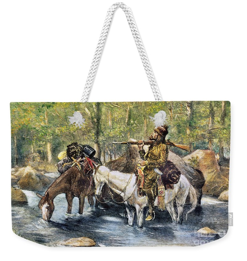 19th Century Weekender Tote Bag featuring the photograph Fur Trapper by Granger
