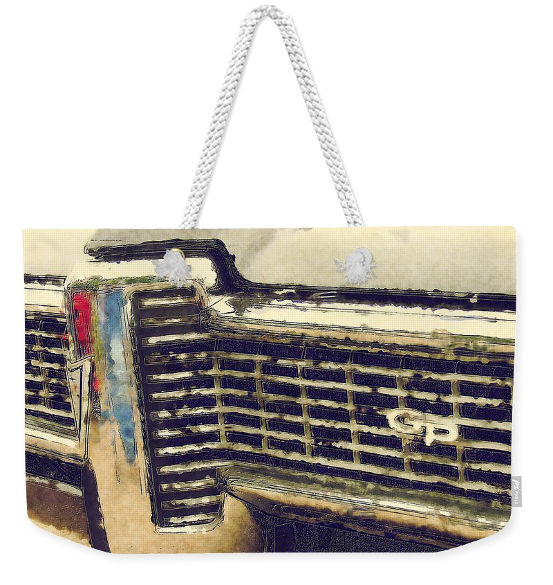 Classic Cars Weekender Tote Bag featuring the painting G P by Adam Vance