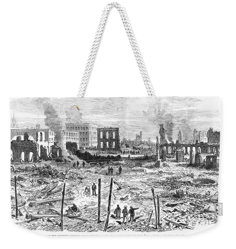 1877 Weekender Tote Bag featuring the photograph Galveston: Fire, 1877 by Granger
