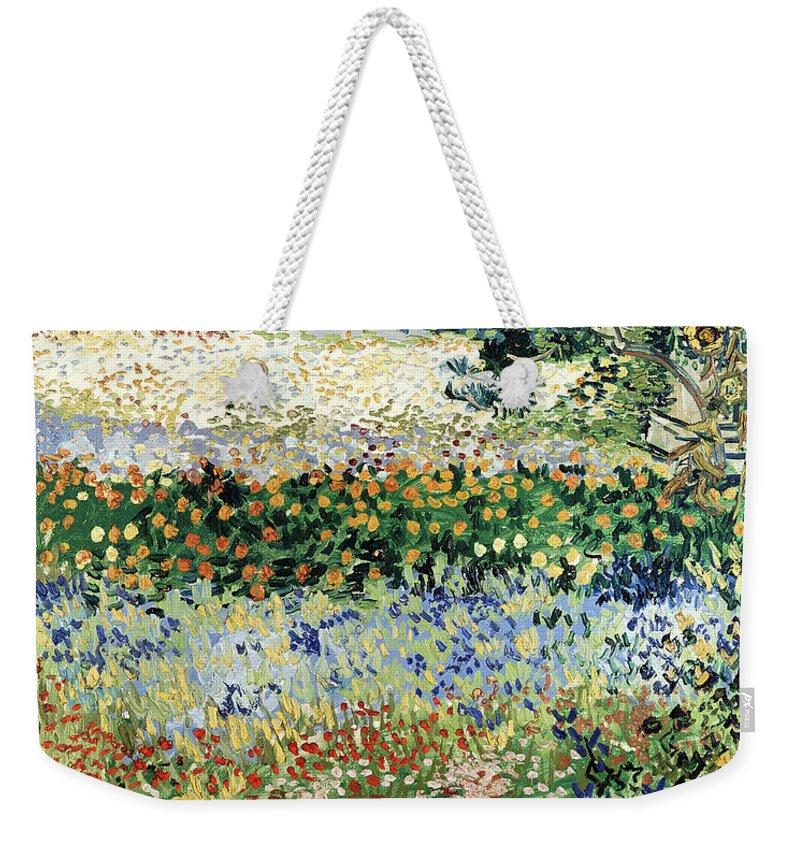 Garden In Bloom Weekender Tote Bag featuring the painting Garden In Bloom by Vincent Van Gogh