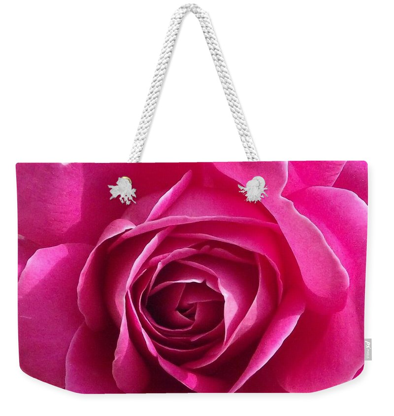Velvet Pink Rose Petals Weekender Tote Bag featuring the photograph Garden Rose by Michelle Welles
