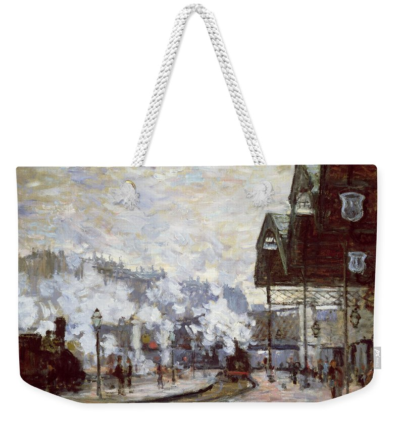 Gare Weekender Tote Bag featuring the painting Gare Saint-lazare by Claude Monet