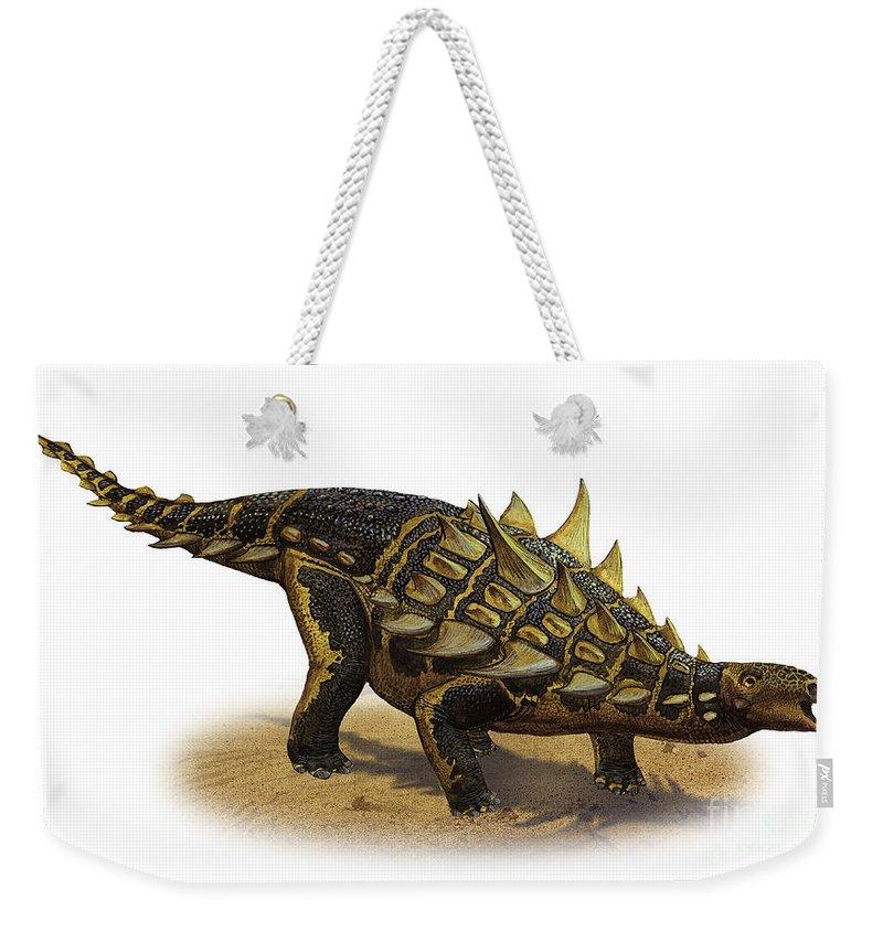 Horizontal Weekender Tote Bag featuring the digital art Gastonia Burgei, A Prehistoric Era by Sergey Krasovskiy