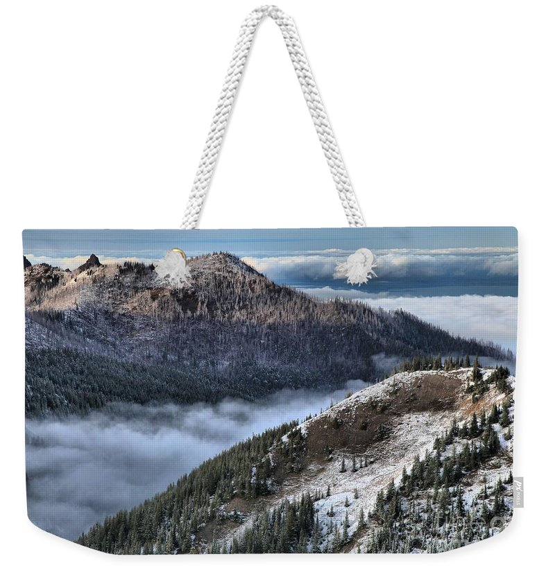 Hurricane Ridge Weekender Tote Bag featuring the photograph Gazing Over The Pacific by Adam Jewell