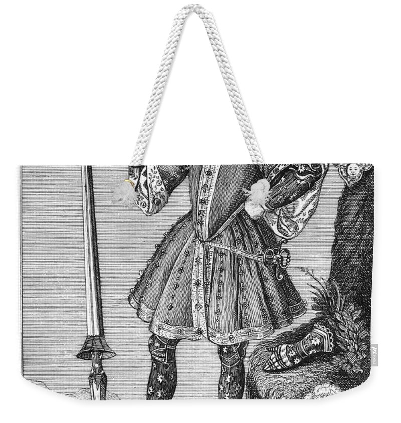16th Century Weekender Tote Bag featuring the photograph George Cumberland (1558-1605). George De Clifford Cumberland. 3rd Earl Of Cumberland. English Naval Commander And Courtier. Line Engraving, English, Early 19th Century by Granger