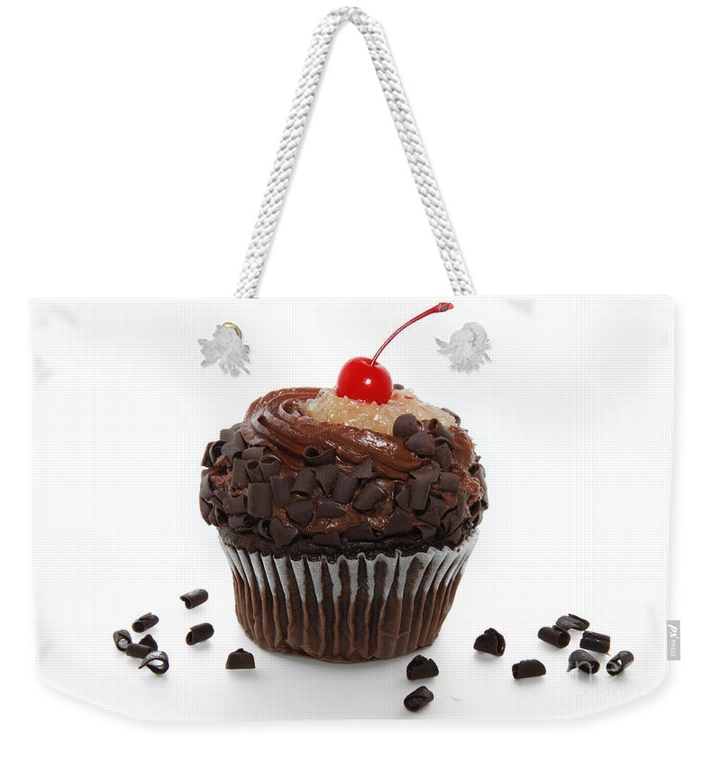 German Weekender Tote Bag featuring the photograph German Chocolate Cupcake by Andee Design