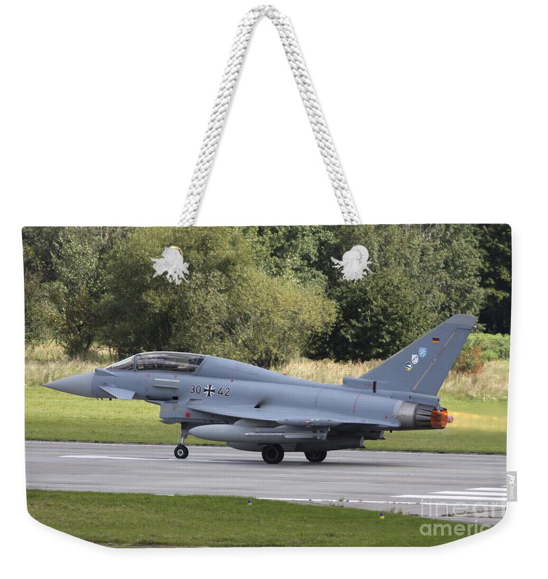 Horizontal Weekender Tote Bag featuring the photograph German Eurofighter Trainer Taking by Timm Ziegenthaler