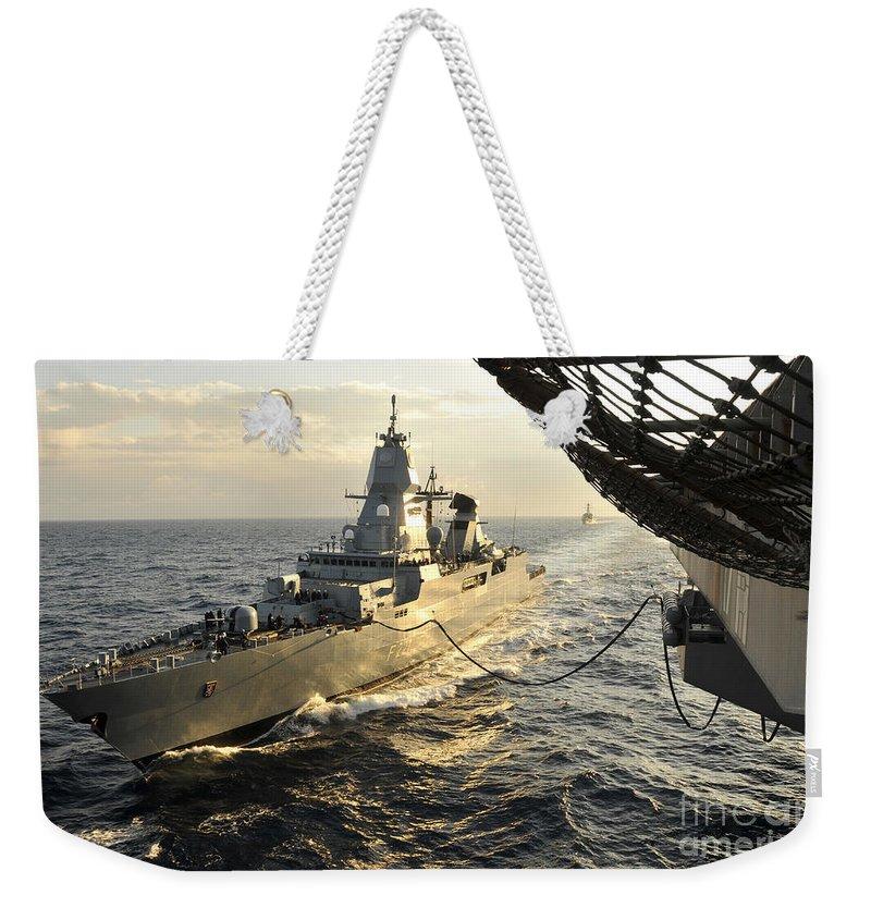 Horizontal Weekender Tote Bag featuring the photograph German Sachsen-class Frigate Hessen by Stocktrek Images