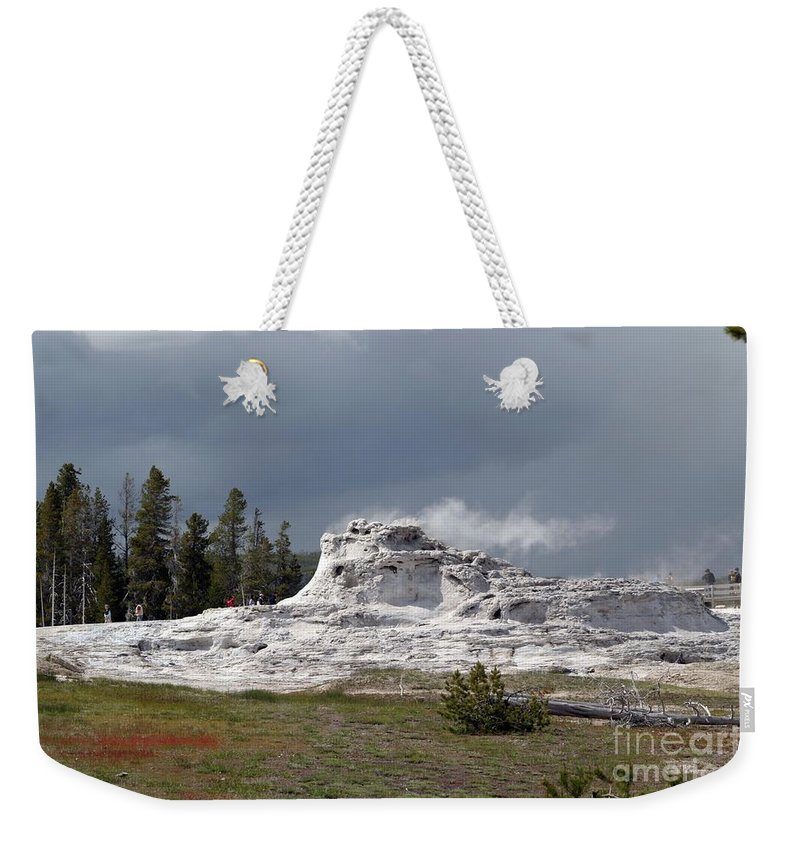 Geyser Weekender Tote Bag featuring the photograph Geyser In Yellowstone by Living Color Photography Lorraine Lynch