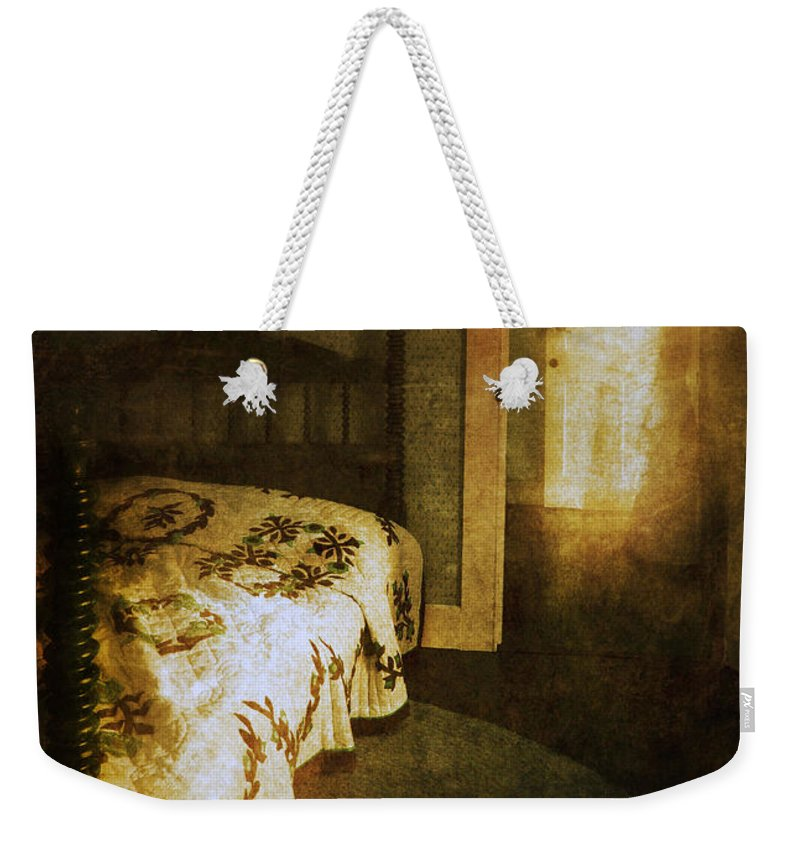 Room Weekender Tote Bag featuring the photograph Ghostly Figure In Hallway by Jill Battaglia