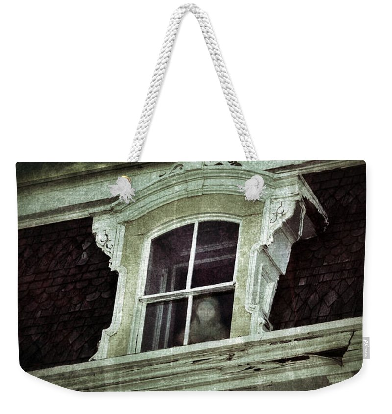 House Weekender Tote Bag featuring the photograph Ghostly Girl In Upstairs Window by Jill Battaglia