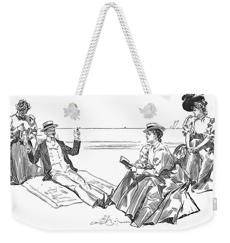 1900 Weekender Tote Bag featuring the photograph Gibson: Beach, 1900 by Granger