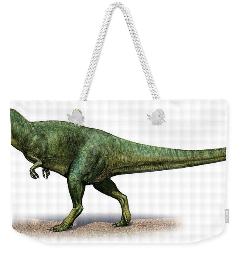 Horizontal Weekender Tote Bag featuring the digital art Giganotosaurus Carolinii, A Prehistoric by Sergey Krasovskiy