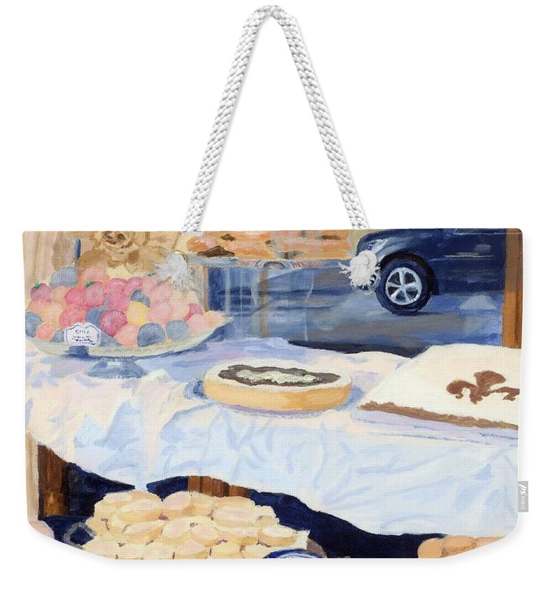 Reflections Weekender Tote Bag featuring the painting Gilli's by Lynne Reichhart