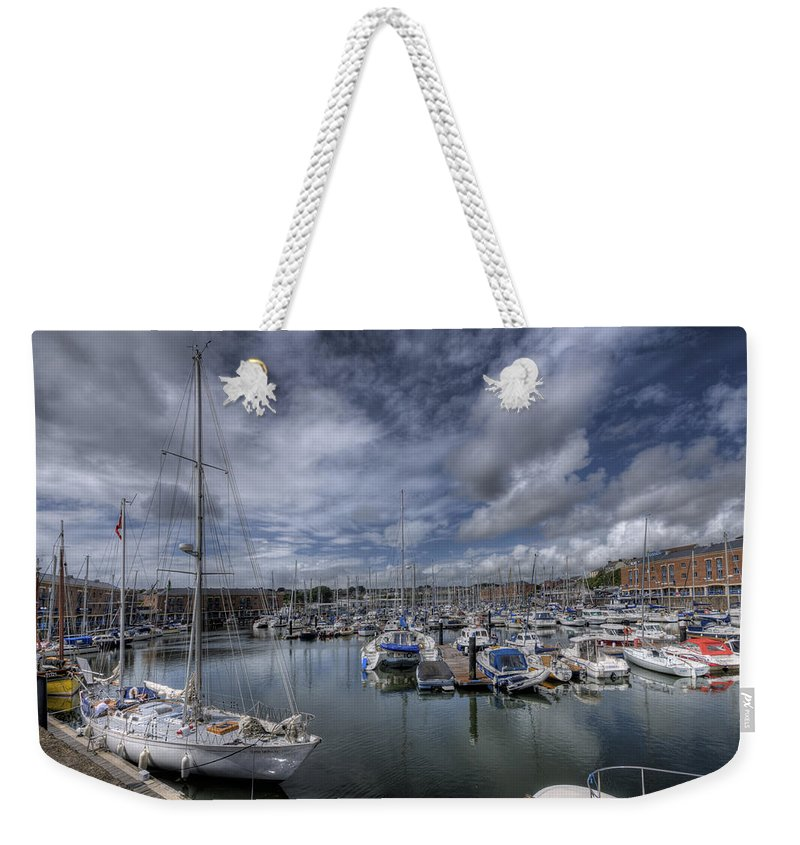 Gipsy Moth Iv Weekender Tote Bag featuring the photograph Gipsy Moth Iv At Milford Haven Marina by Steve Purnell