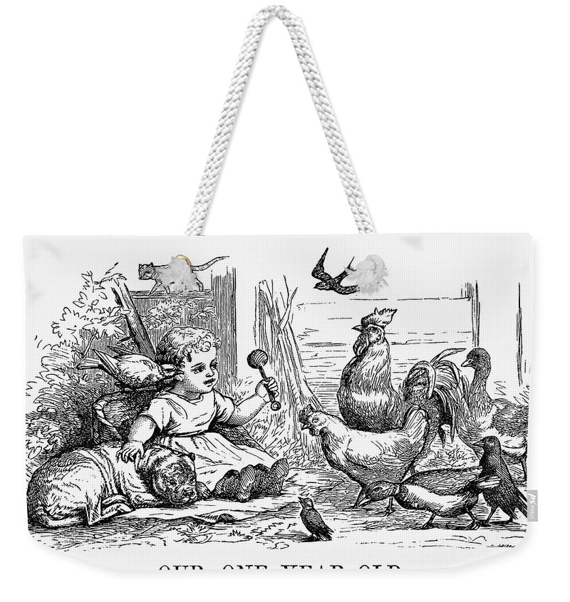 1873 Weekender Tote Bag featuring the photograph Girl With Birds, 1873 by Granger