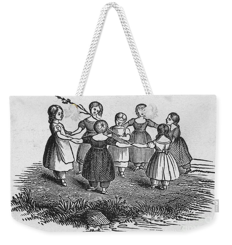 1844 Weekender Tote Bag featuring the photograph Girls Playing, 1844 by Granger