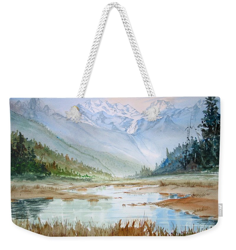 Weekender Tote Bag featuring the painting Glacier by Mohamed Hirji