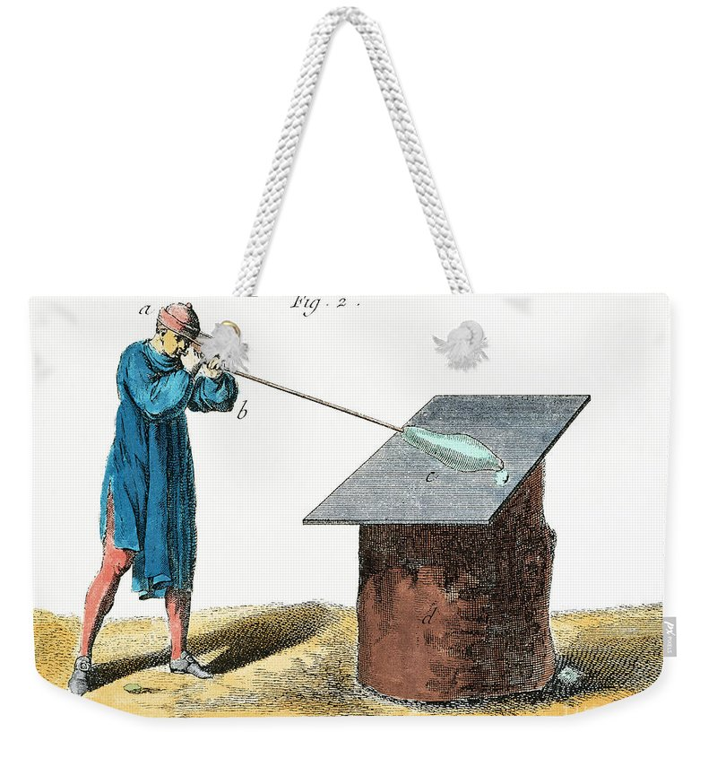 18th Century Weekender Tote Bag featuring the photograph Glassblower, 18th Century by Granger