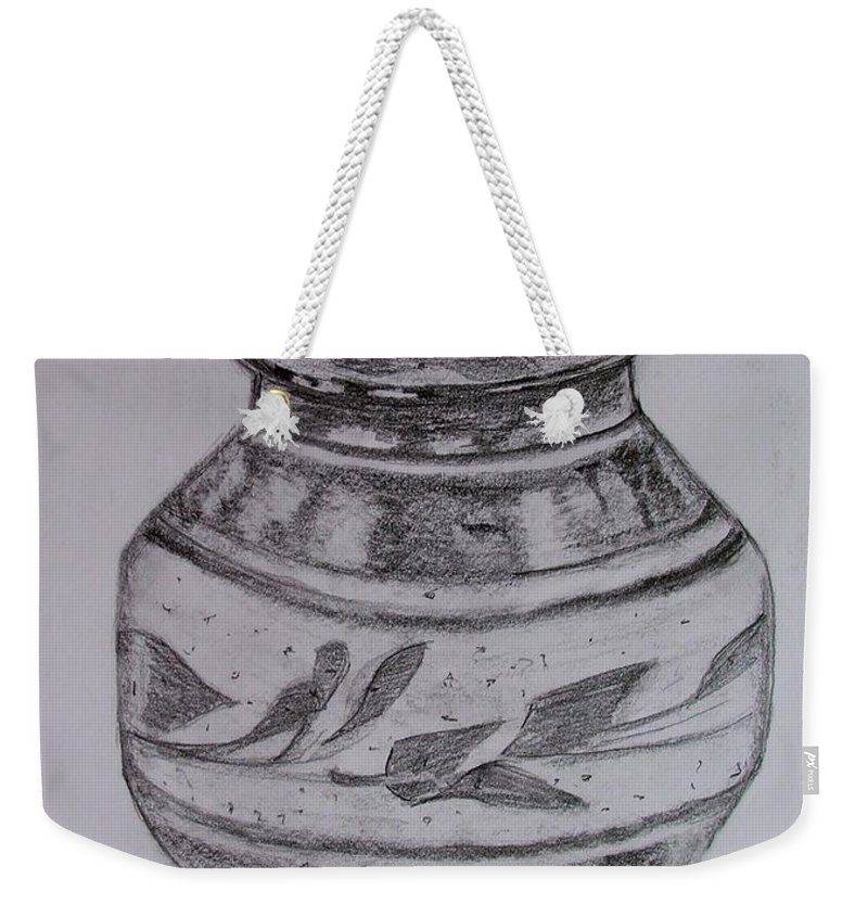 Still Life Weekender Tote Bag featuring the painting Glazed Tea Caddy by Caroline Street