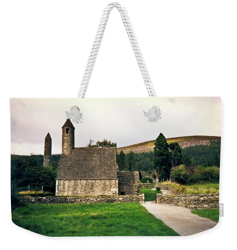 Round Weekender Tote Bag featuring the photograph Glendalaugh Tower 16 by Douglas Barnett