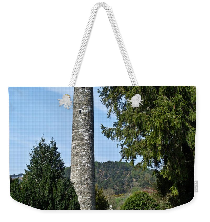 Round Weekender Tote Bag featuring the photograph Glendalaugh Tower 17 by Douglas Barnett