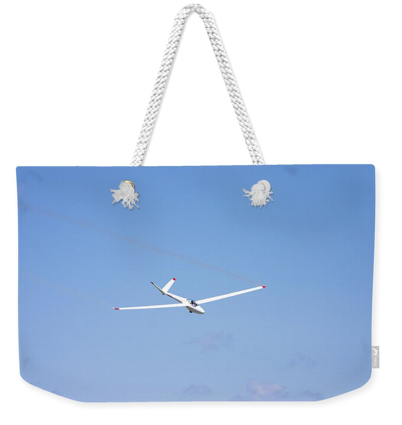 Plane Weekender Tote Bag featuring the photograph Glider Flying In Blue Sky Canvas Photo Poster Print by Keith Webber Jr