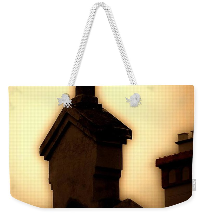 Cross Weekender Tote Bag featuring the photograph Glowing Resurrection by DigiArt Diaries by Vicky B Fuller