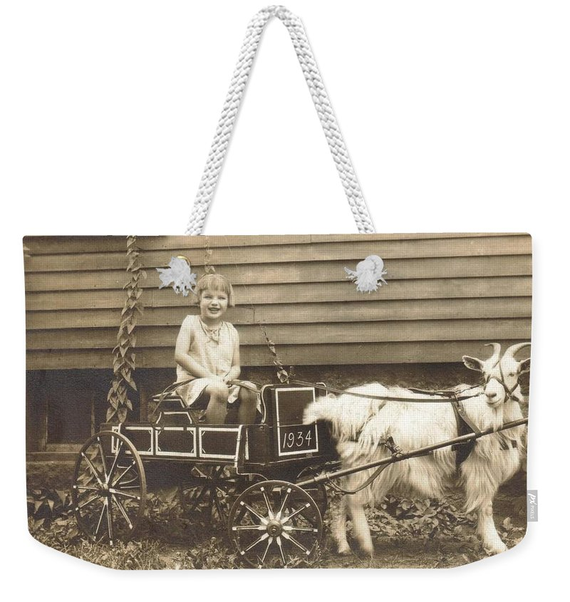 Mom Weekender Tote Bag featuring the photograph Goat Wagon by Bonfire Photography