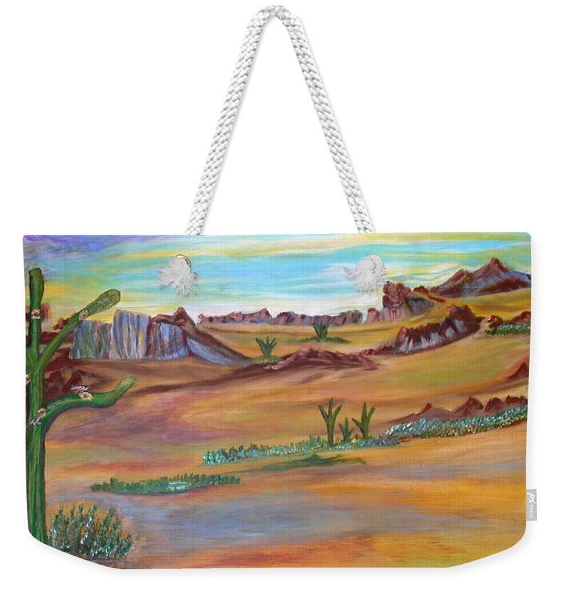 Cactus With Bird Nests Within Southwest Landscape Weekender Tote Bag featuring the painting God's Condo by Cheryl Emtman