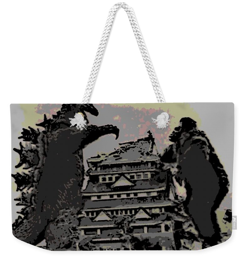 Godzilla Weekender Tote Bag featuring the photograph Godzilla And King Kong Hanging Out In Tokyo by George Pedro