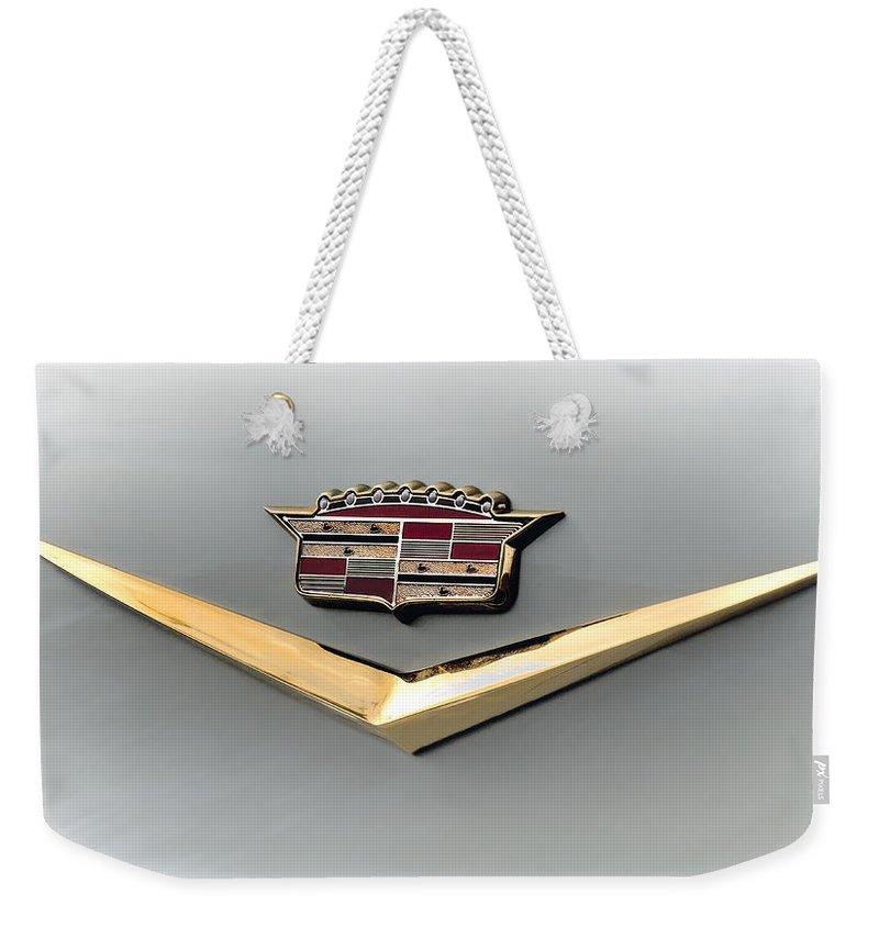 Cadillac Weekender Tote Bag featuring the digital art Gold Badge Cadillac by Douglas Pittman
